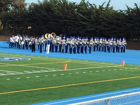 SSFHS Marching Band  Guard Bell Game Halftime.JPG